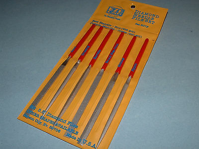 EZE LAP 607F Diamond Needle File Set Fine 600 Grit Six Shapes Made in USA