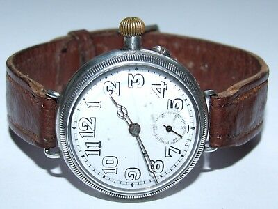 Antique 1915 Solid Silver Francois Borgel Cased Officer`s Trench Watch
