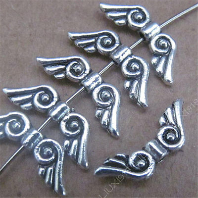 50pc Small Angel wings Spacer Beads Retro Tibetan Silver Jewellery Making S479T