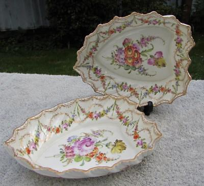 SUPERB RARE PAIR 19thC ANTIQUE DRESDEN LEAF SHAPED DISHES - CIRCA 1890 PORCELAIN