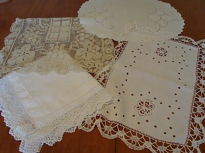 4 Beautiful vintage linen,embroidered,crochet & lace  table toppers