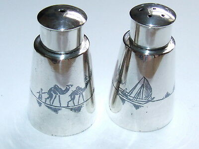 Scarce c1930s Islamic Iraqi Solid Silver Niello Table Salt & Pepper Shakers