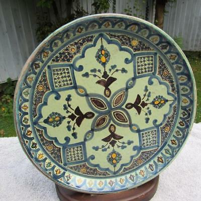 "Large 12"" Antique Morrocan Islamic Dish . Signed Glazed Earthenware Hand Painted"