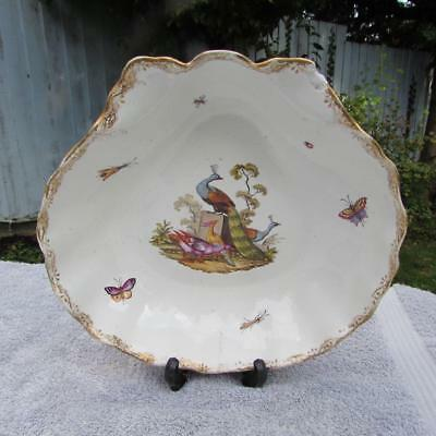 LARGE 18thC ANTIQUE MEISSEN PORCELAIN SHELL DISH - Circa 1760 Ornithological