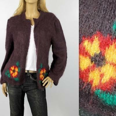 Vintage Dark Purple Mohair Hand Knitted Slouch Cardigan Size M