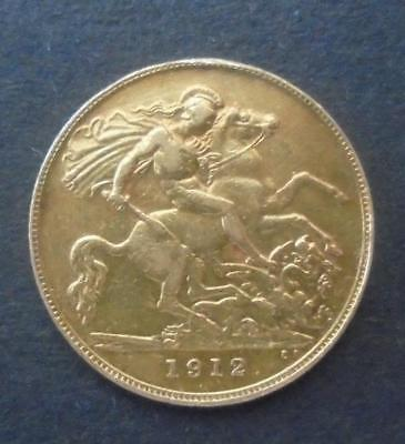 Great Britain 1912 George V Gold Half Sovereign Coin Very Fine