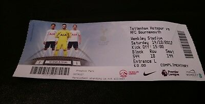 TOTTENHAM HOTSPUR v AFC BOURNEMOUTH 14/10/17 USED TICKET STUB WEMBLEY STADIUM