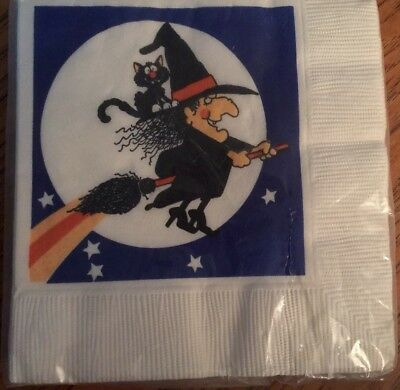 16 Vtg Cocktail Paper Napkins Halloween Black Kitty Cat Witch Moon Cute IOP