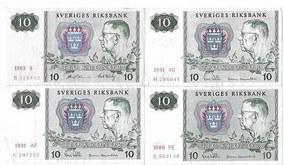 Sweden 4 x 10Kr Banknotes 1980 -1983 Very Fine - Extremely Fine