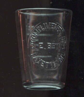 Old Embossed Glass Drug Measure, Compliments Of G.e. Betts, Fayette, Mo.