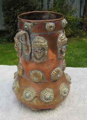 Unusual Antique Copper Brass Middle Eastern Vessel / Pot - Heads With Turquise