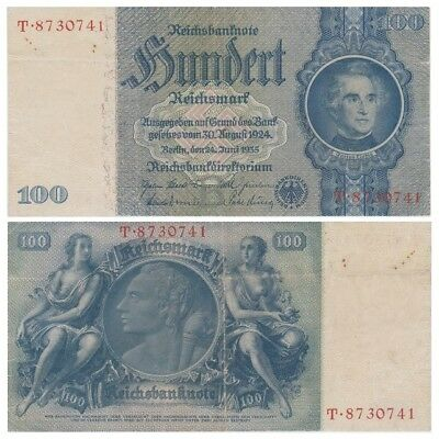 1oo ReichsMarks German banknote issued in 24.06.1935 V aunc