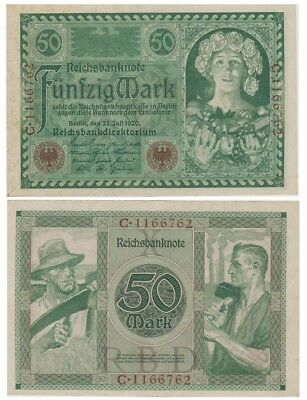 5o Marks German banknote issued in 23.07.1920 C aunc