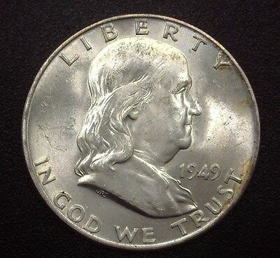 1949-D Franklin Silver 50 Cents  Gem Uncirculated Full Bell Lines