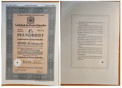 1.ooo ReichsMarks German Bond issued in 1940 by Konigsberg stadt C aunc