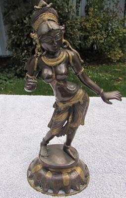 MAGNIFICENT ANTIQUE 19thC INDIAN GILT BRONZE DANCER FIGURE