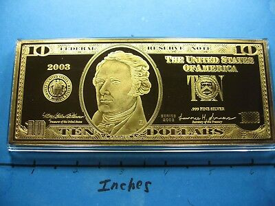 4 Oz $10 Hamilton Federal Reserve Note Currency 999 Silver Gold Money Bar Rare