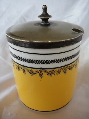 Lovely Vintage George Jones Ceramic Condiment Jar With Silver Plated Lid