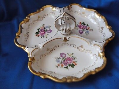 Lovely Continental China Three Section Hors d'Oeuvre Dish With Floral Design