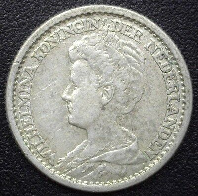 Netherlands 1917 Silver 25 Cents  Km#146, Y#40   Choice Almost Uncirculated