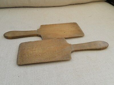 Vintage Pair Of Wooden Butter Pats