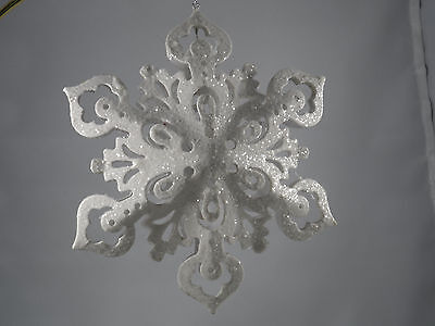 White Two Dimensional Glittery Snowflake Christmas Tree Ornament new holiday