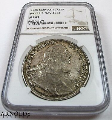 1760 Germany Taler Bavaria NGC MS63 Great Detail!