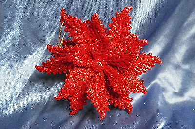 Red Glittered Snowflake Christmas Tree Ornament new holiday decorations