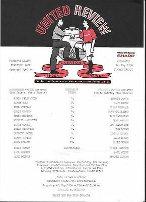 Football Programme>MAN UTD RESERVES v TRANMERE ROVERS RESERVES May 1996