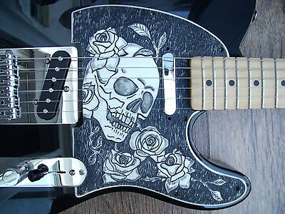 Telecaster pickguard scratchplate custom made engraved skull and roses
