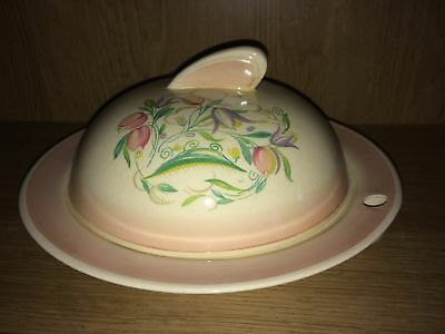 Art Deco Warming Dish & Cover In Pink With Dresden Spray Pattern By Susie Cooper