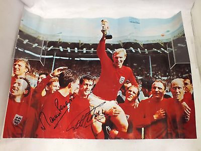 Signed ENGLAND 1966 WORLD CUP FINAL Poster Geoff Hirst & Martin Peters - P31