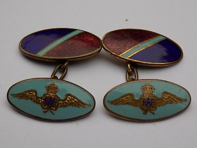 Pair Vintage WW2 RAF ROYAL AIR FORCE Enamel Cufflinks - KC RAF 'Wings' Design