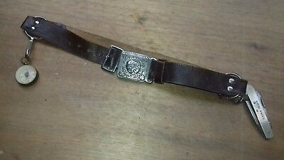 Classic Girl Guides leather belt with steel hoops and Compass & Guide tool 29""