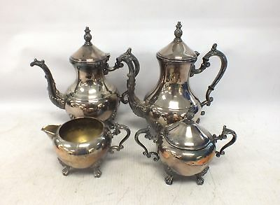 F.B. ROGERS Antique/Vintage Silver Plated 4 Pieces TEA & COFFEE SERVICE - G01