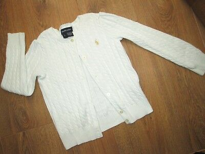 Beautiful Girls Ralph Lauren White Cable Knit Cardigan Age 6 Years 100% Cotton