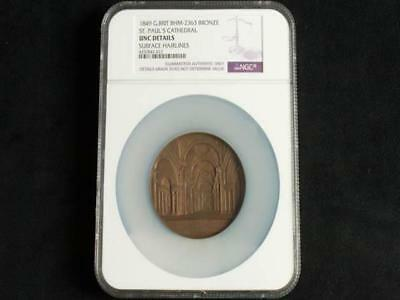 NobleSpirit {3970} High Grade UNC Details NGC 1849 Britain Bronze Medal St. Paul