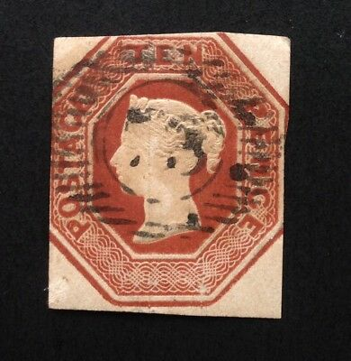 GB Queen Victoria Embossed 10d Brown Cut Square used (cat £1500)