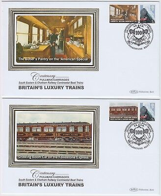 BRITAIN'S LUXURY TRAINS *PULLMAN CARRIAGES* 2x 2010 official illustrated covers