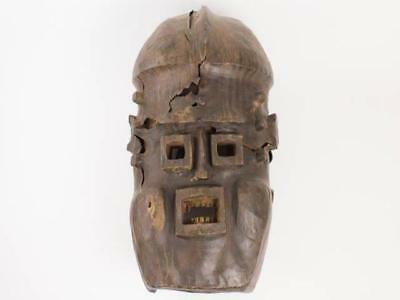 NobleSpirit {3970} Benin Leather Covered Wood Ceremonial Mask Nigerian 1850s