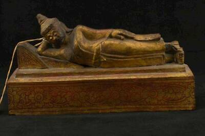 NobleSpirit 3970 Exceedingly Rare Reclining Buddha Carved Wooden Statue w/ Seal