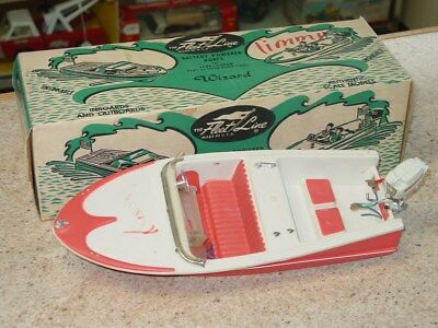 Vintage The Fleet Line Plastic Boat, Toy Vehicle In Box, Battery Operated
