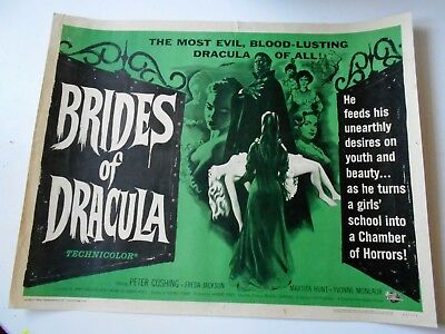 Brides of Dracula half-sheet movie poster Hammer horror vampires Peter Cushing