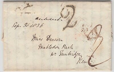 "LONDON 1836 pre-stamp entire *PALL MALL-TUNBRIDGE* with ""T.P. PALL MALL"" marking"