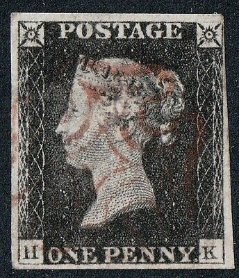"ONE PENNY BLACK PLATE 1b ""HK"" RE-ENTRY WITH FOUR MARGINS  ~ RED MALTESE CROSS"