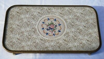 Lovely Vintage Petit Point Embroidered And Lace Glass Vanity Tray