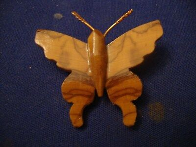 Grandmas Estate Beautiful  1940's Hand Carved Wooden Butterfly  Brooch