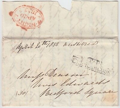 LONDON 1833 pre-stamp entire with *T.P. CLAPHAM COM* marking
