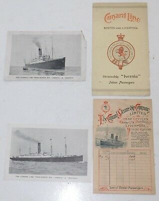 1901 Cunard Line R.M.S. Ivernia Boston to Liverpool Roundtrip Passenger Lists