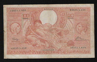 BELGIUM (P113) 100 Francs - 20 Belgas 1944 F/F+ French text on front Orange